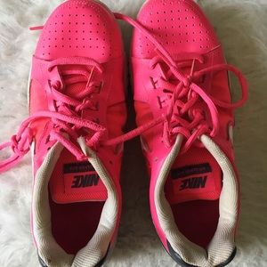 Nike Pink & Grey Lace Up Womens Running Shoes